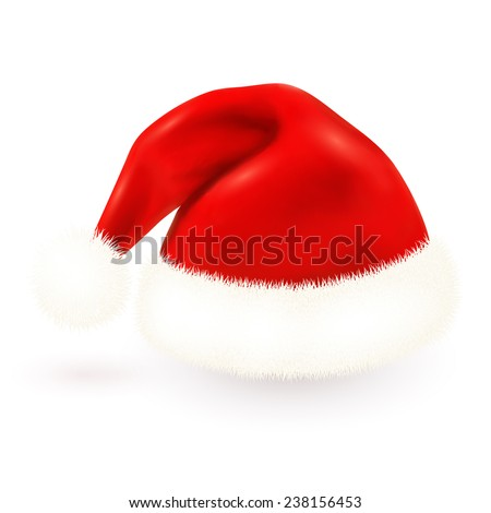 Red isolated Santa's hat on white background
