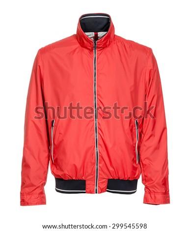red jacket on white background - stock photo