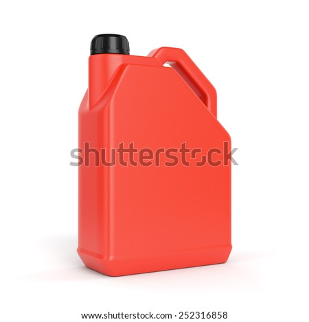 Red jerry can. Plastic canister with lid isolated on white background. - stock photo