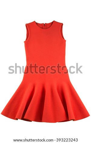 Red jersey dress isolated