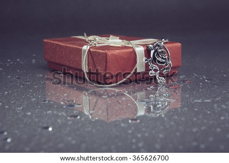 Red jewelry box - stock photo