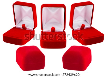 Red jewelry box isolated on white Background - stock photo