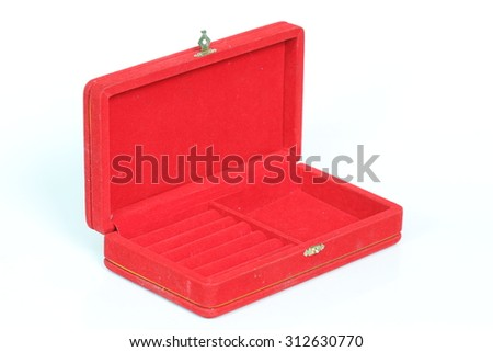 Red jewelry box on a white background.