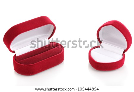 Red jewelry boxes isolated on white