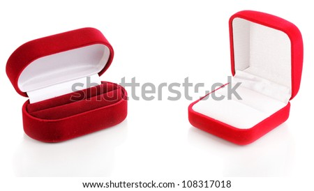 Red jewelry boxes isolated on white - stock photo