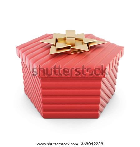 Red jewelry gift box with bow isolated on white background. 3d rendering. - stock photo