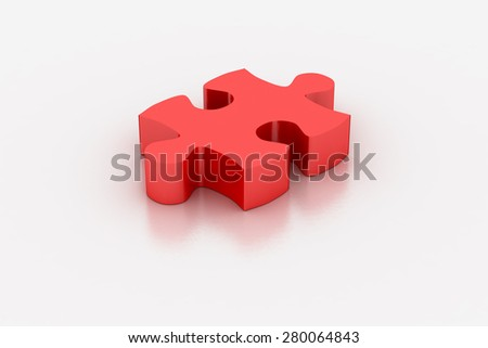 Red jigsaw piece on a white background, 3D render