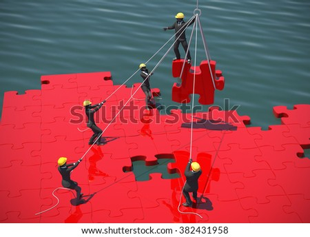 Red Jigsaw puzzle being built by teamwork  by the sea at noon. A great red jigsaw puzzle being built by a successful team  by the sea at noon. - stock photo