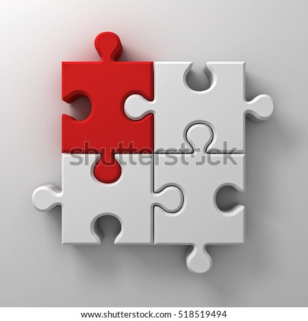 Red jigsaw puzzle piece stand out from the crowd different concept on white wall background with shadow. 3D rendering.