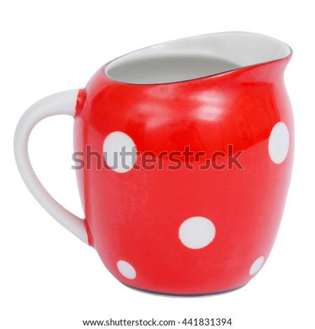 Red jug isolated on white background - stock photo