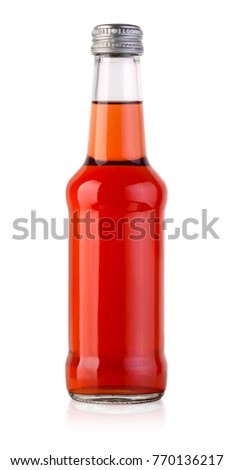 red Juice bottle on white background with clipping path