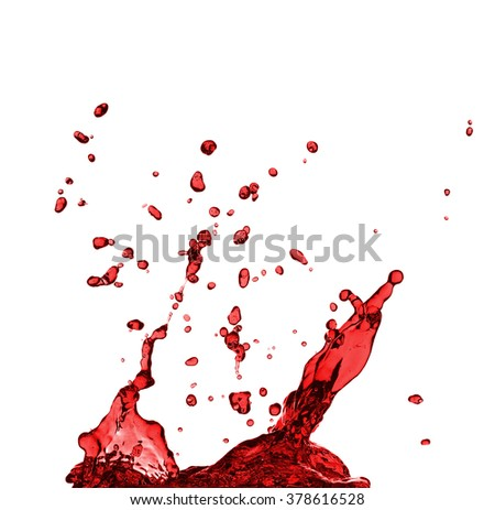Red juice splash closeup isolated on white background