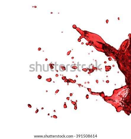 Red juice splash closeup isolated on white background - stock photo