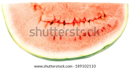 red juicy ripe water-melon, piece is cut off, close-up - stock photo