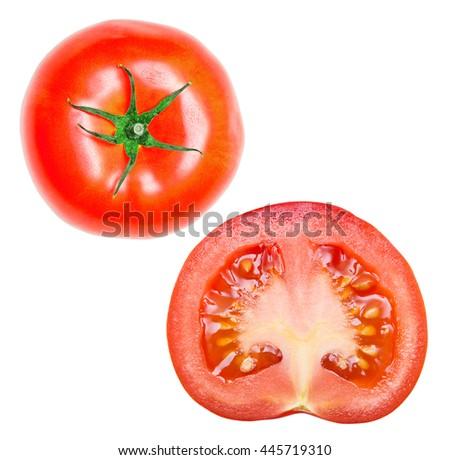 Red juicy tomato isolated on white background - stock photo