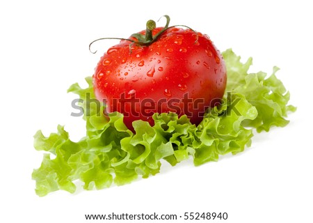 red juicy tomato with litho of the salad on white background