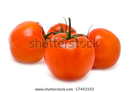red juicy tomatoes on a white background - stock photo