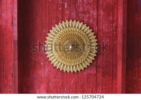 Red kanok' background. This is traditional and generic style in Thailand. No any trademark or restrict matter in the photo. - stock photo