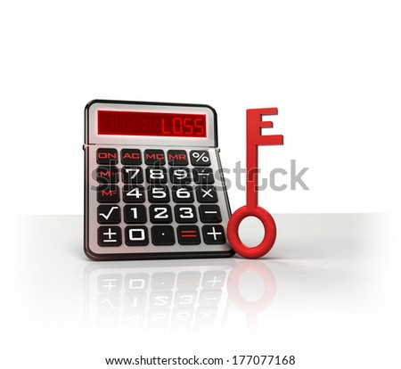 red key to break negative business calculations  isolated on white illustration