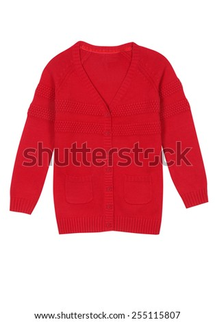 Red kids knitted sweater isolated on white