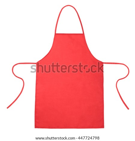 Red kitchen apron isolated on white background