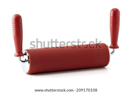Red Kitchen silicone Roller pin isolated on white background - stock photo