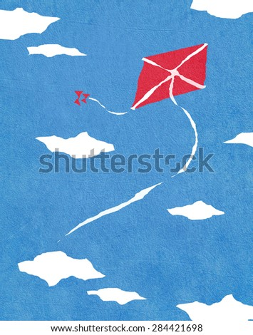 red kite and blue sky digital illustration - stock photo