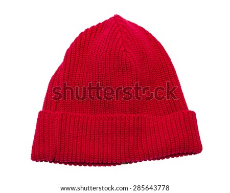 Red knit hat isolated over white with clipping path - stock photo