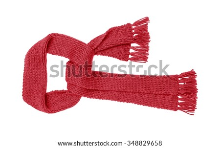 Red knitted scarf isolated on white background. - stock photo