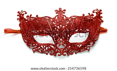 Red lacy carnival mask on white background - stock photo