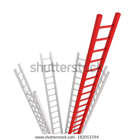 Red Ladder leader as a concept idea of success or leadership teamwork 3d illustration - stock photo