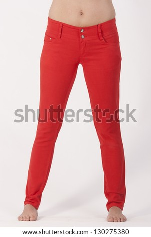Red Ladies pants for every occasion and every figure / Trend look - stock photo