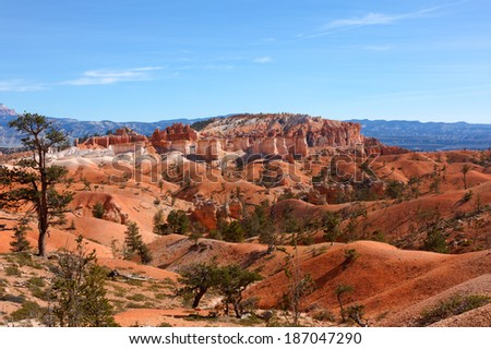 Red Landscape. This image was taken while hiking in the Queen's Garden area at Bryce Canyon National Park in Utah. - stock photo