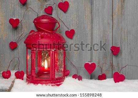 Red lantern with candlelights white lantern with candlelights and white hearts - stock photo