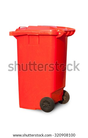 Red large trash cans (garbage bins) on white background  - stock photo