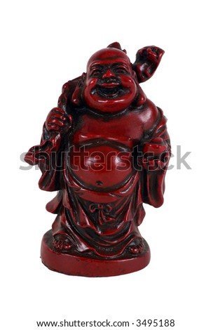Red laughing Buddha (Budai or Hotei) figures