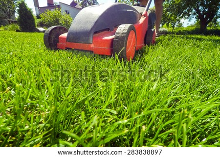 Red Lawn mower cutting grass. Gardening concept background, image taken low angle, soft
