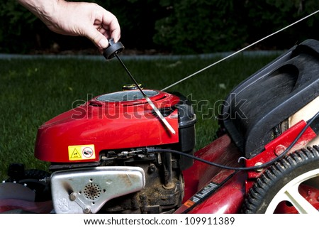 Red Lawn Mower getting some maintenance