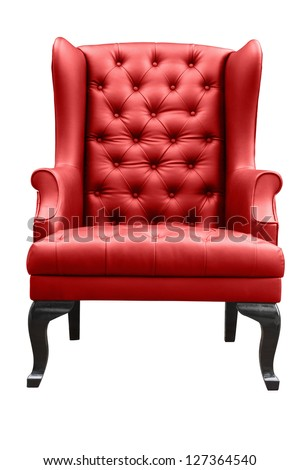 red leather armchair isolated on white. - stock photo