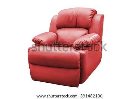 Red leather armchair isolated on white background, with clipping path. - stock photo