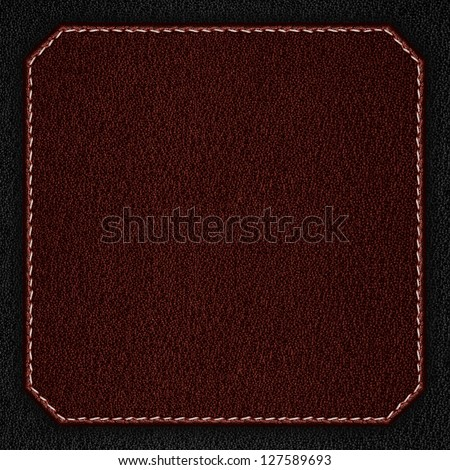 red leather background with white seam on black rough texture