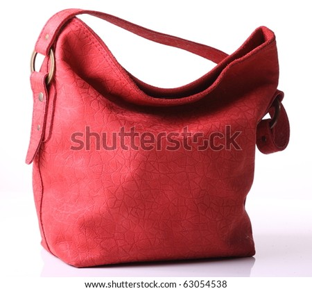 Red leather bag - stock photo