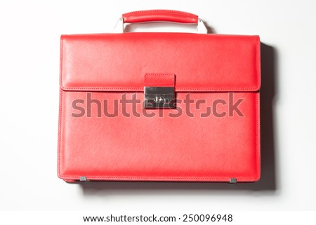 red leather bag on a white background - stock photo