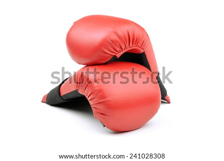 red leather boxing gloves for punching bag or for karate on white background