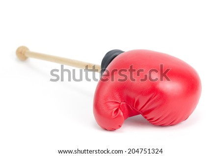 red leather boxing gloves isolated on white, business fighting concept
