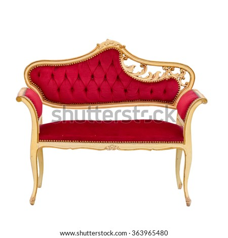 red leather chair  isolated on white background