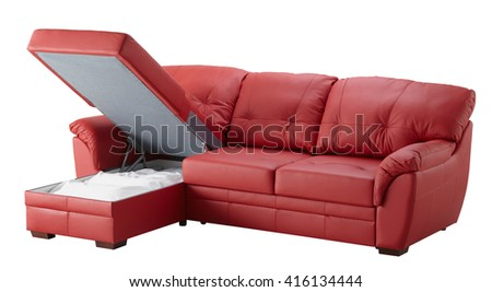 Red leather corner couch bed with storage isolated on white include clipping path - stock photo