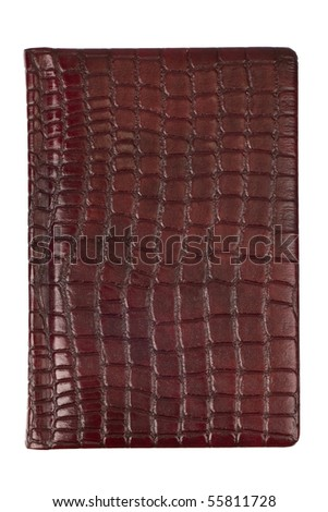 red leather diary - stock photo