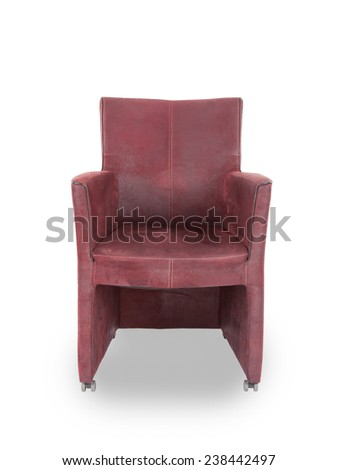Red leather dining room chair isolated on white