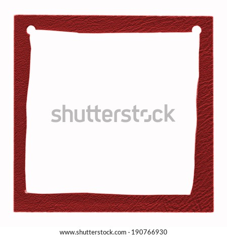 red leather handmade photo frame on white